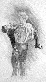 pencil drawing of boo Radley carrying Jem