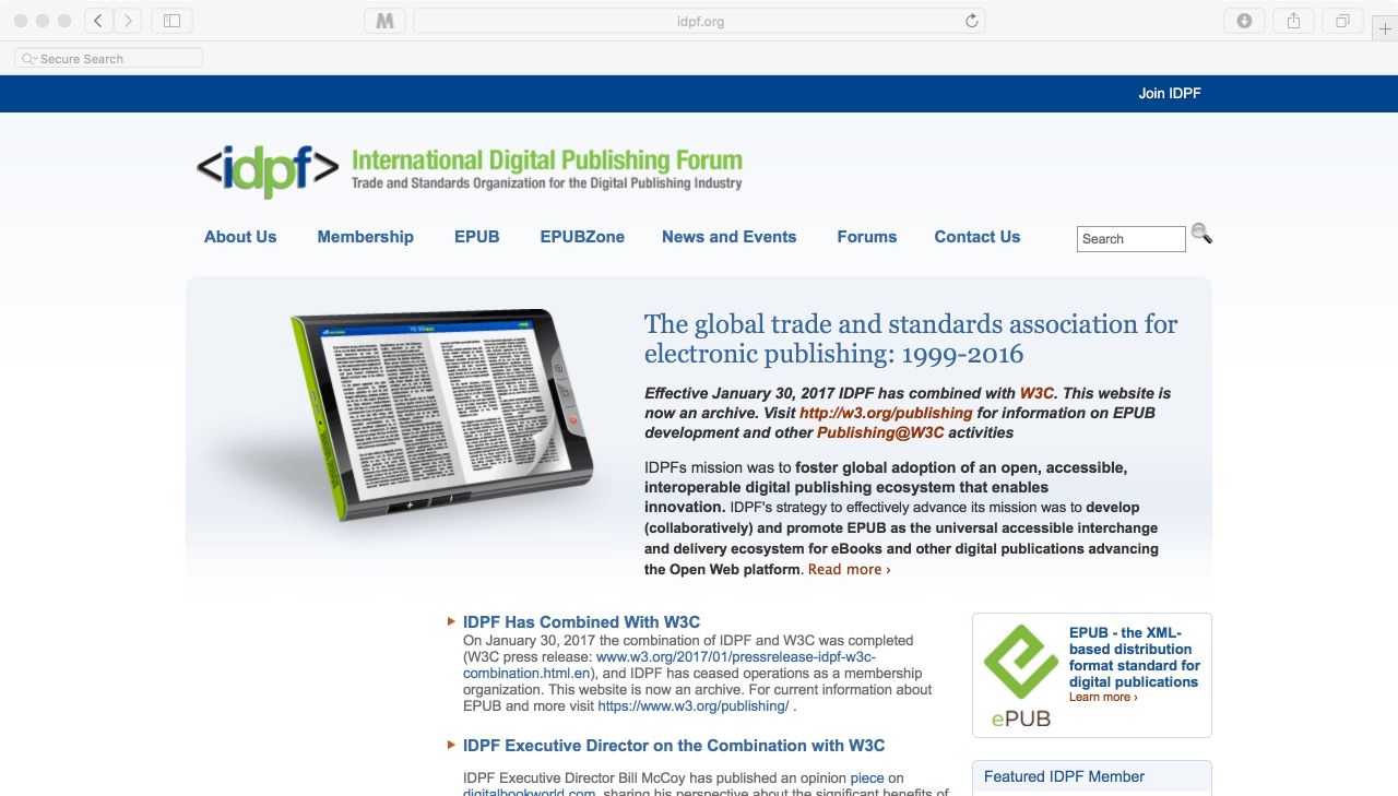 homepage of idpf: The International Digital Publishing Forum