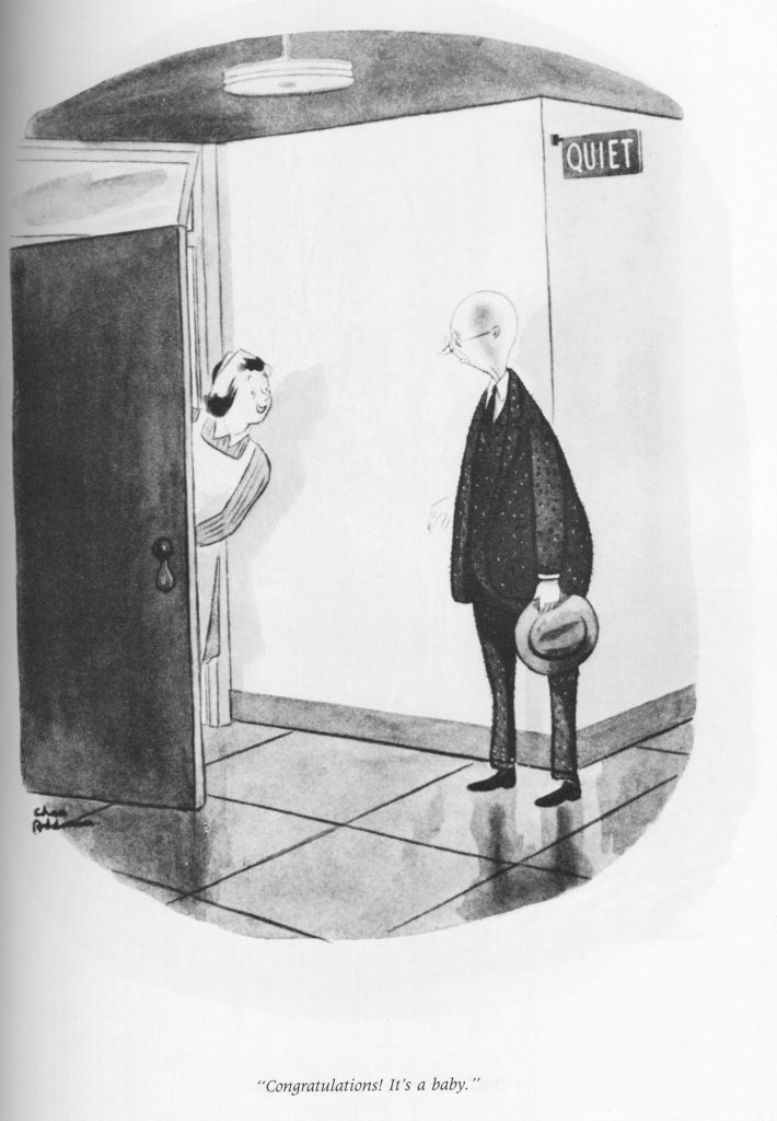 Charles Addams cartoon: It's a baby!