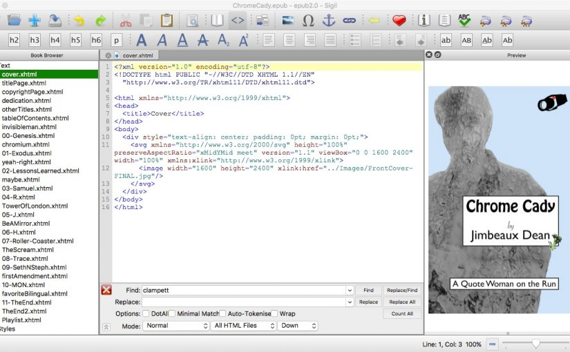 screen shot of Sigil epub editor